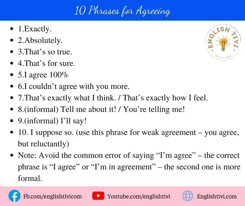 10 English Phrases for Agreeing