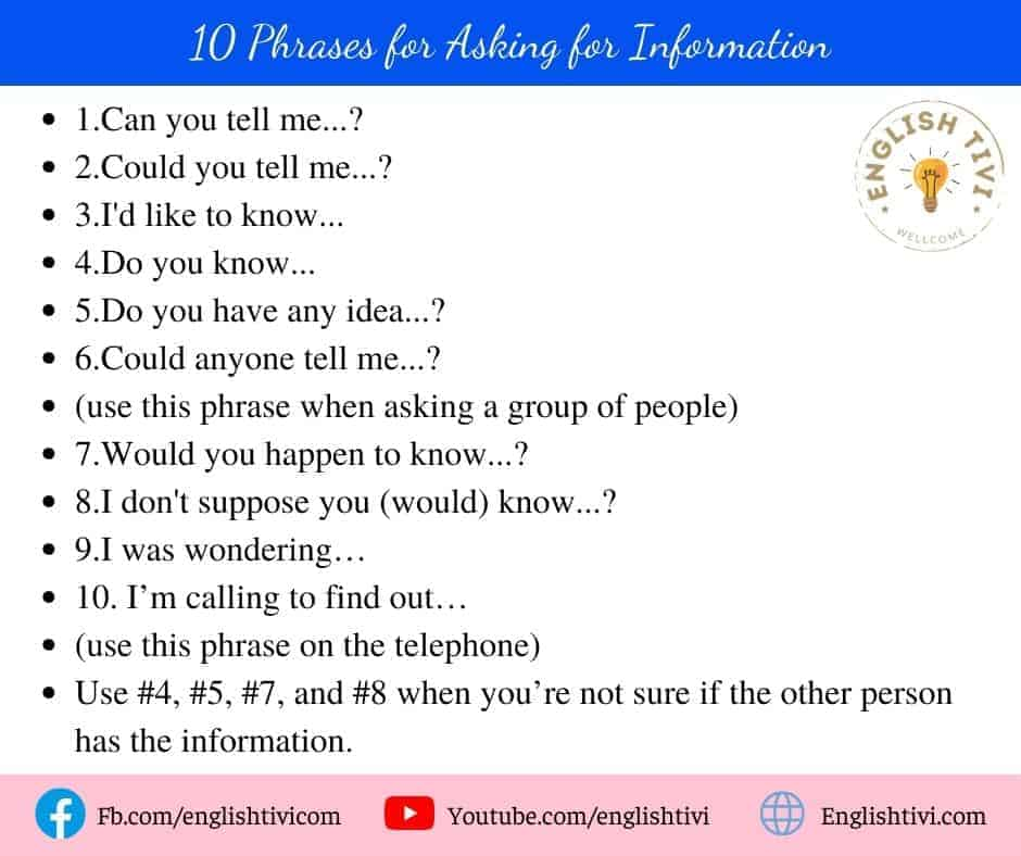 10 English Phrases for Asking for Information