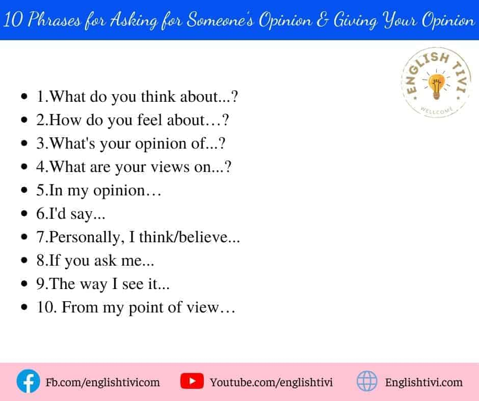 10 English Phrases for Asking for Someone's Opinion & Giving Your Opinion