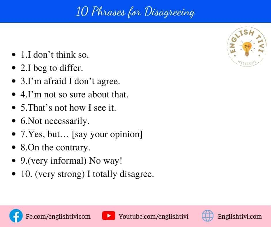 10 English Phrases for Disagreeing