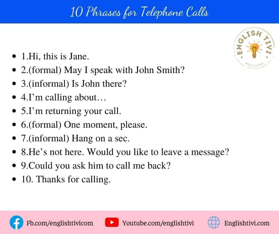 10 English Phrases for Telephone Calls