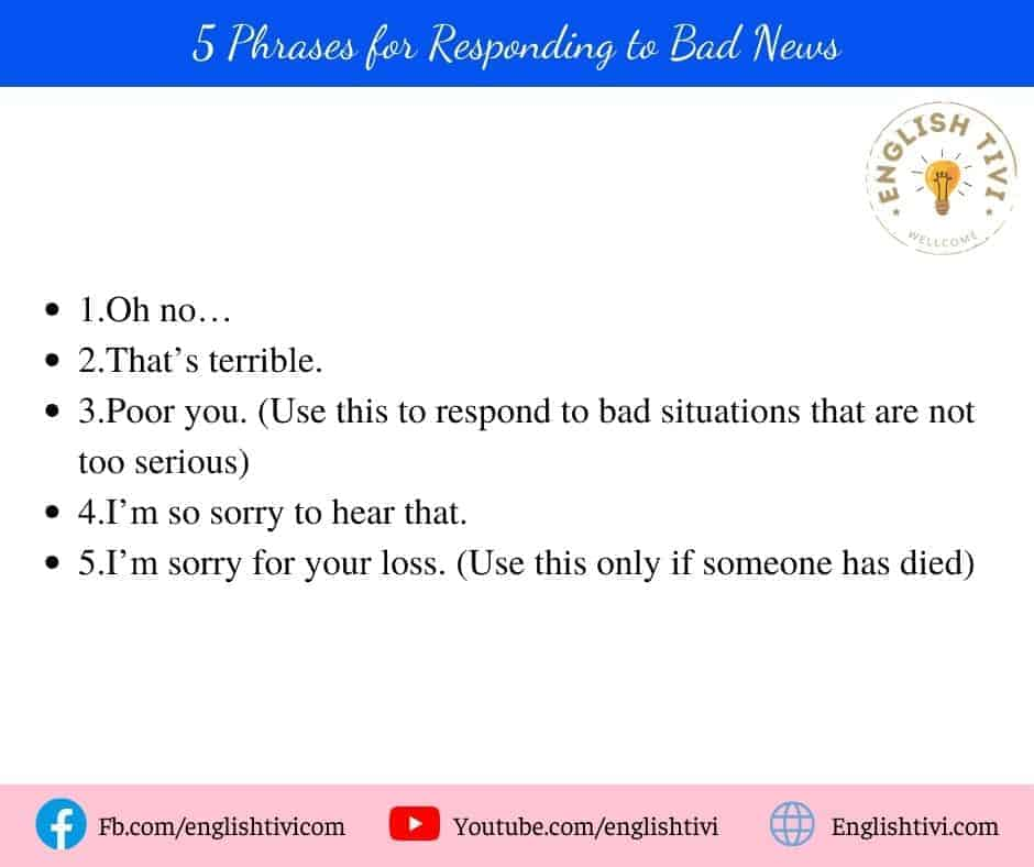5 English Phrases for Responding to Bad News
