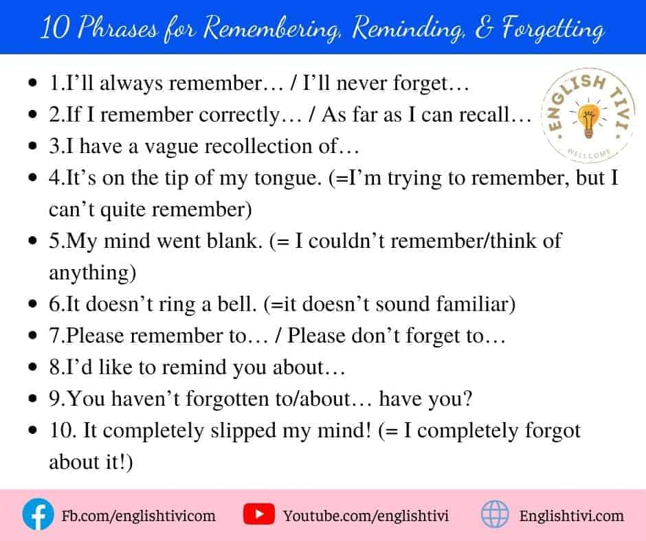 10 Phrases for Remembering, Reminding, & Forgetting