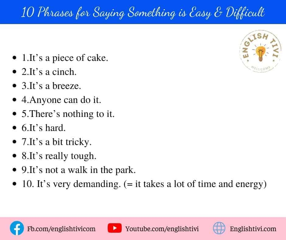 10 Phrases for Saying Something is Easy & Difficult
