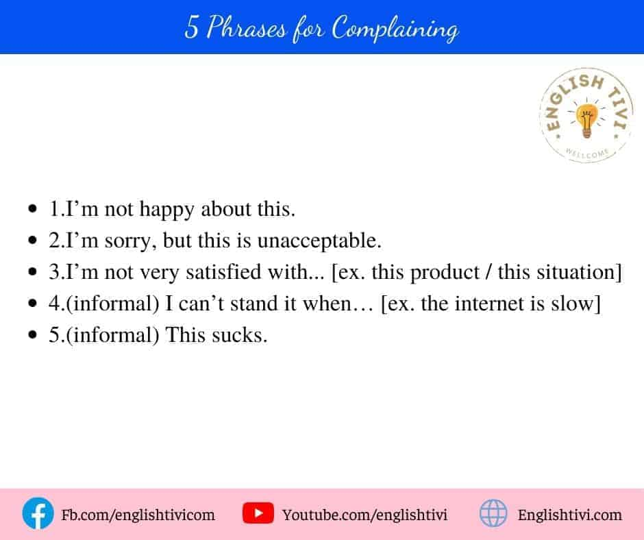 5 Phrases for Complaining