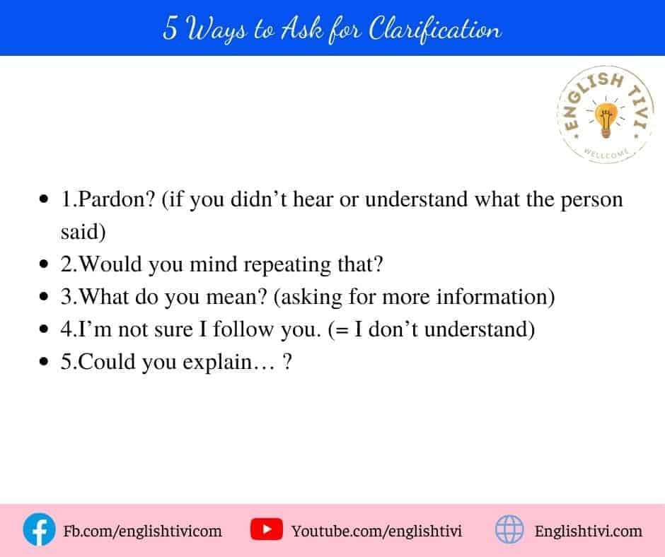5 Ways to Ask for Clarification common english phrases
