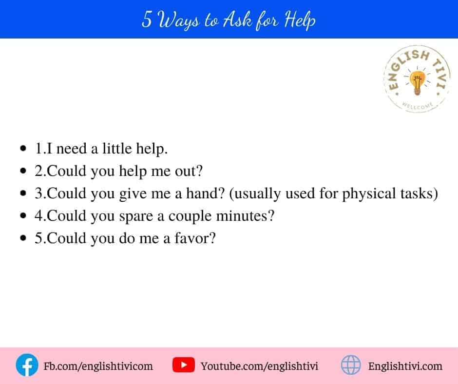 5 Ways to Ask for Help phrases in english