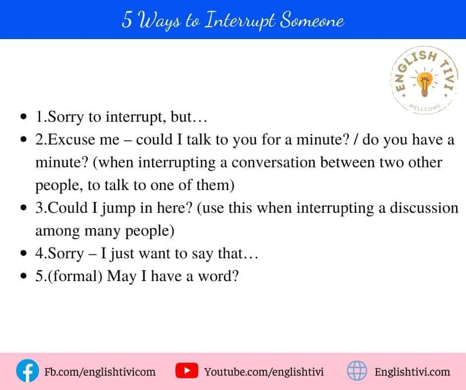 5 Ways to Interrupt Someone English Phrases for Daily use