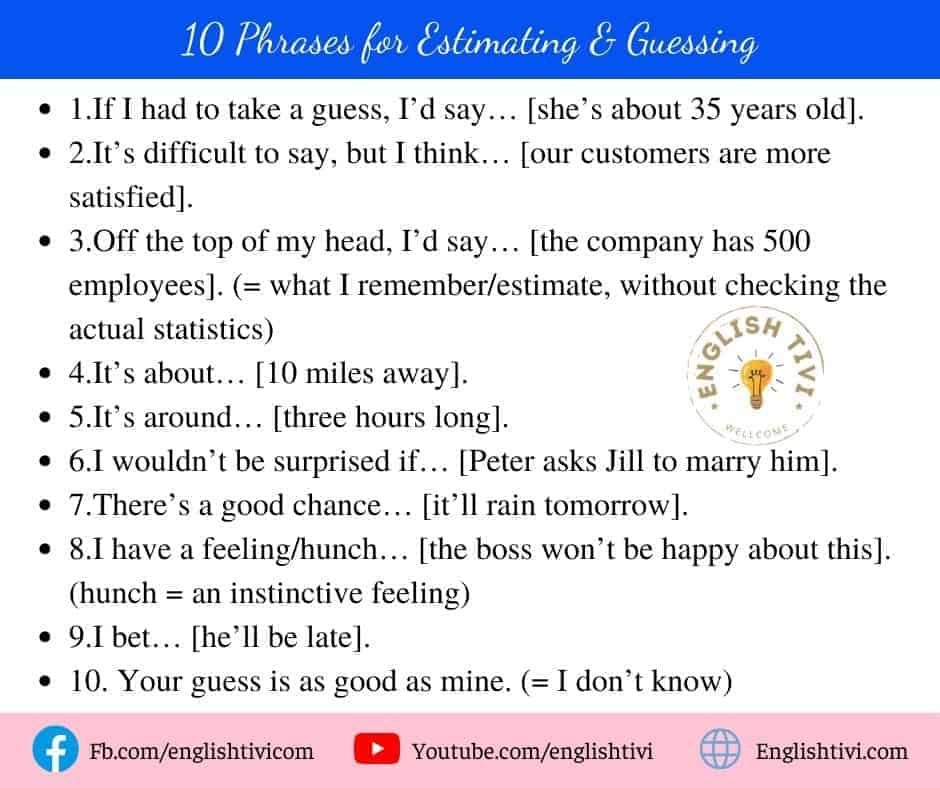 10 Phrases for Estimating & Guessing