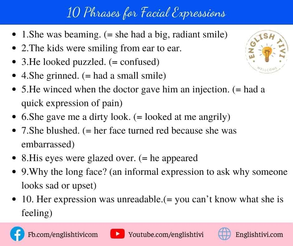 10 Phrases for Facial Expressions