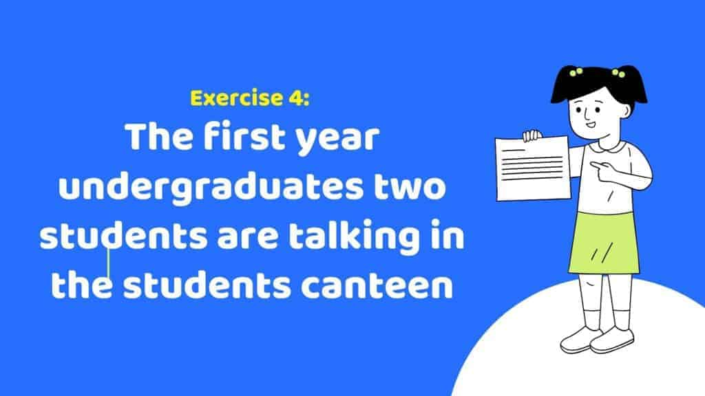Study English with Us: The first-year undergraduates two students are talking in the student's canteen